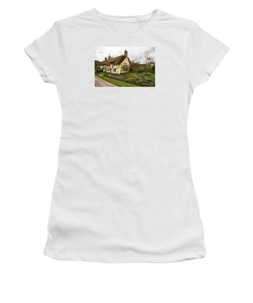 Picturesque Dunster Cottage Women's T-Shirt (Junior Cut) by Shirley Mitchell