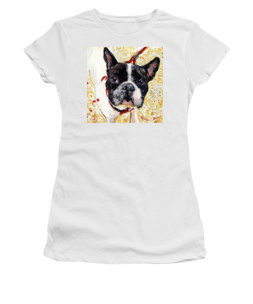 Women's T-Shirt (Junior Cut) featuring the painting Pie And I by Molly Poole