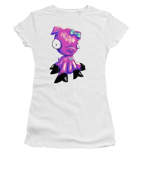 Women's T-Shirt (Junior Cut) featuring the digital art Piggy  by Lizzy Love