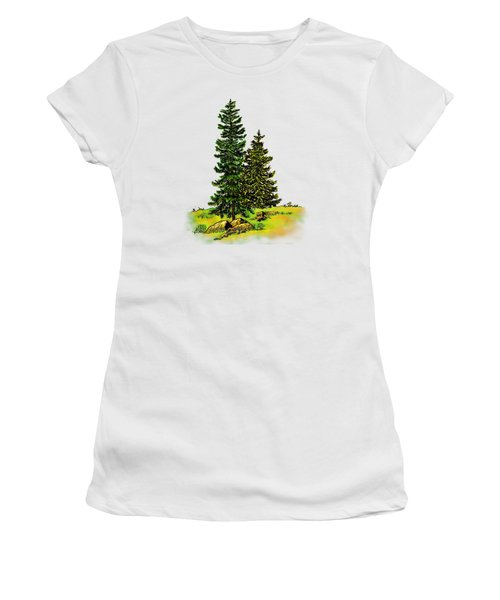Pine Tree Nature Watercolor Ink Image 2b        Women's T-Shirt (Athletic Fit)