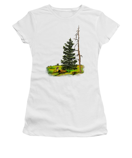 Pine Tree Nature Watercolor Ink Image 3         Women's T-Shirt (Athletic Fit)