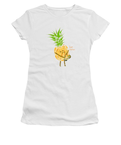 Pineapple Playing Saxophone Women's T-Shirt (Junior Cut) by Neal Battaglia