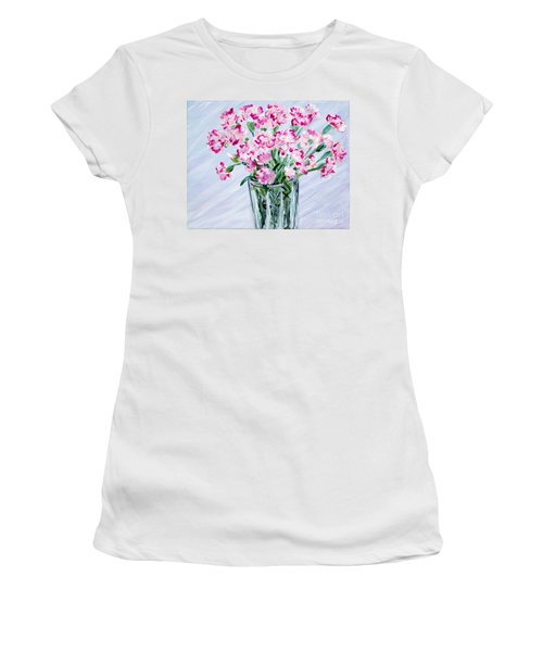 Pink Carnations In A Vase. For Sale Women's T-Shirt (Athletic Fit)