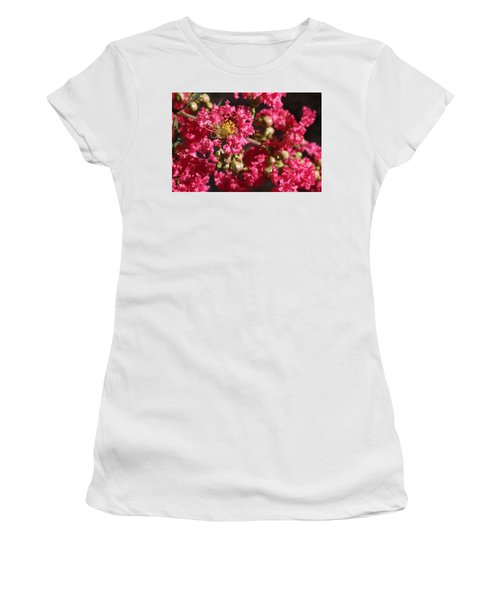 Women's T-Shirt featuring the photograph Pink Crepe Myrtle Flowers by Debi Dalio
