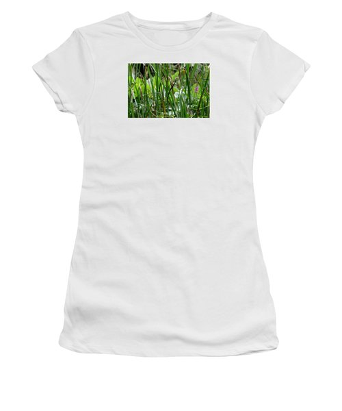 Pink Flower In The Grass Women's T-Shirt (Athletic Fit)