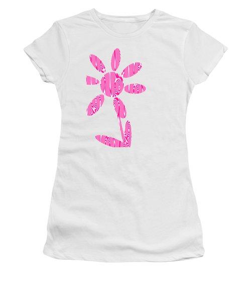 Pink Flower Women's T-Shirt (Junior Cut) by Kathleen Sartoris