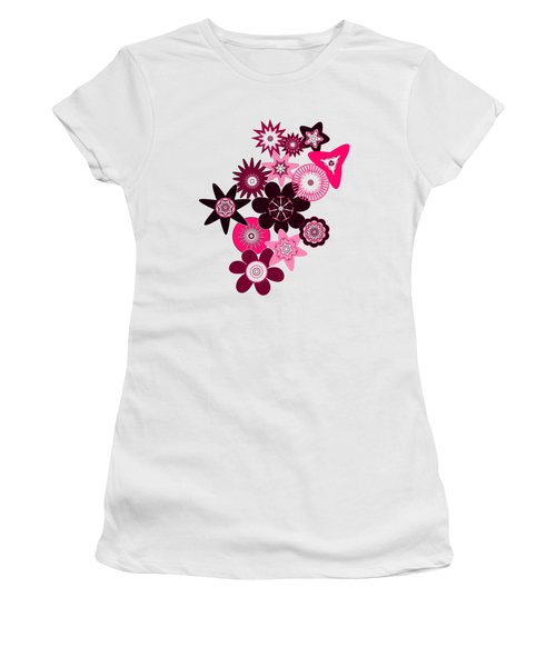 Pink Funky Flowers Women's T-Shirt (Junior Cut) by Methune Hively