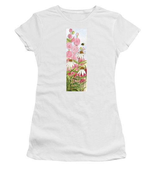 Pink Hollyhock And White Coneflowers Women's T-Shirt
