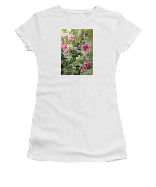 Pink Hollyhocks Women's T-Shirt (Junior Cut) by Laurie Rohner