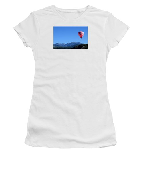 Women's T-Shirt (Junior Cut) featuring the photograph Pink On Blue by Kevin Munro