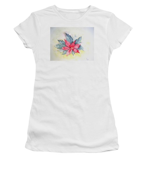 Pink Poinsetta On Blue Foliage Women's T-Shirt