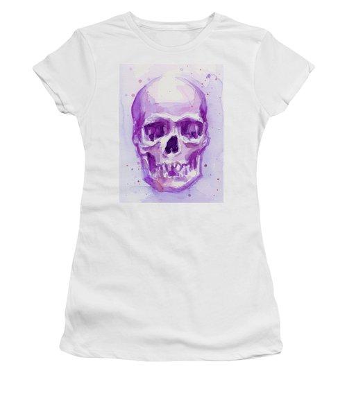 Pink Purple Skull Women's T-Shirt (Athletic Fit)