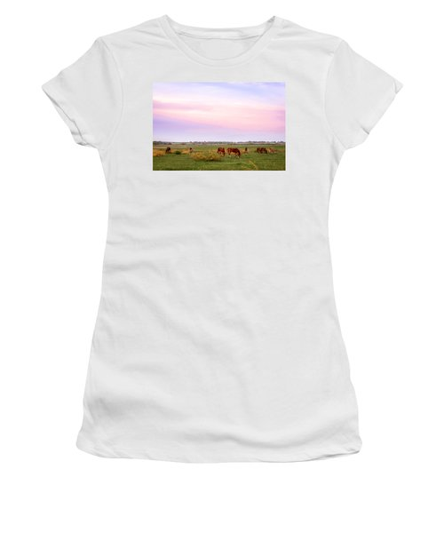 Women's T-Shirt featuring the photograph Pink Sky Night by Melinda Ledsome