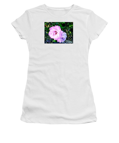 Women's T-Shirt (Junior Cut) featuring the photograph Pink - White Roses  2 by Sadie Reneau