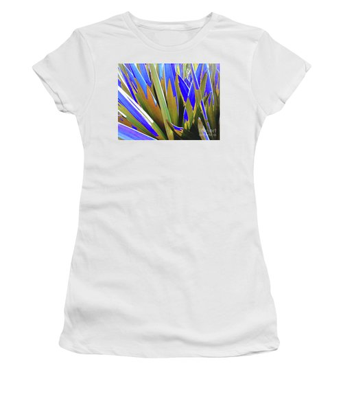 Women's T-Shirt (Athletic Fit) featuring the photograph Plant Burst - Blue by Rebecca Harman