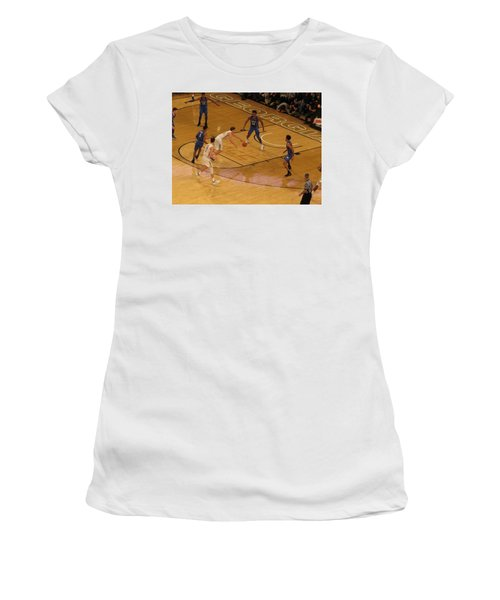 Women's T-Shirt (Athletic Fit) featuring the photograph Player Tracks Ball  by Aaron Martens