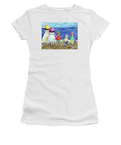 Playing At The Seashore Women's T-Shirt (Junior Cut) by Rosemary Aubut