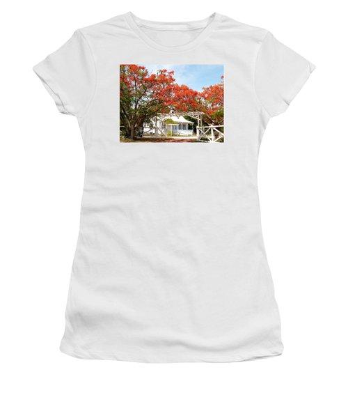 Poinciana Cottage Women's T-Shirt (Junior Cut) by Amar Sheow