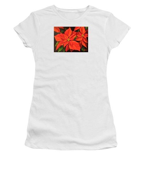 Poinsettia  Women's T-Shirt (Junior Cut) by Katia Aho