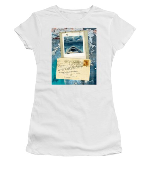 Poloroid Of Boat With Inspirational Quote Women's T-Shirt (Athletic Fit)