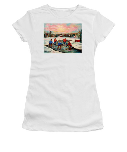 Pond Hockey Countryscene Women's T-Shirt (Athletic Fit)