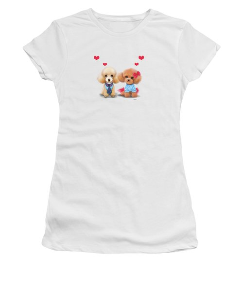 Poodles Are Love Women's T-Shirt (Junior Cut) by Catia Cho