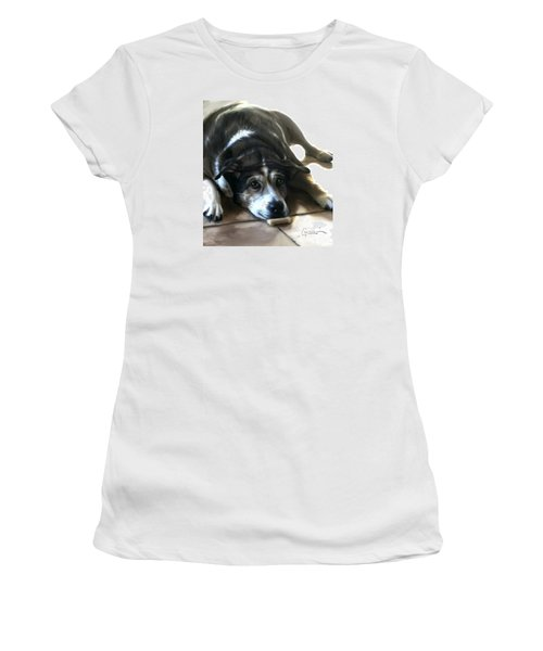 Women's T-Shirt (Athletic Fit) featuring the painting Pooz by Thomas Lupari