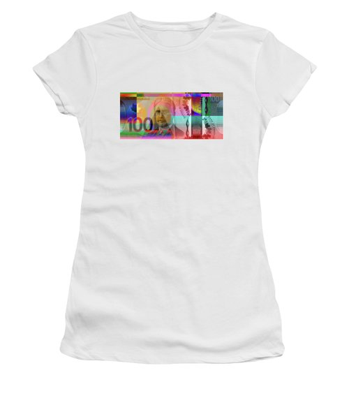 Pop-art Colorized New One Hundred Canadian Dollar Bill Women's T-Shirt (Athletic Fit)