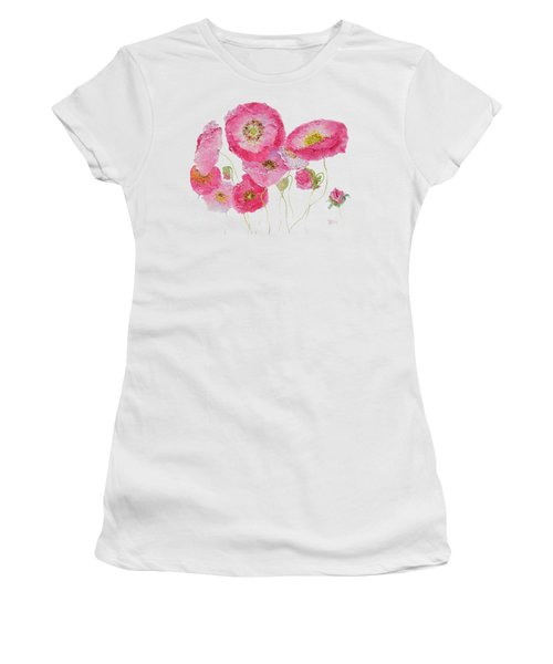 Poppy Painting On White Background Women's T-Shirt (Athletic Fit)