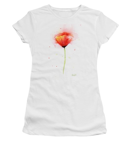 Poppy Watercolor Red Abstract Flower Women's T-Shirt