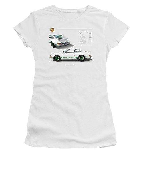 Porsche 911 Carrera Rs Illustration Women's T-Shirt (Junior Cut) by Alain Jamar