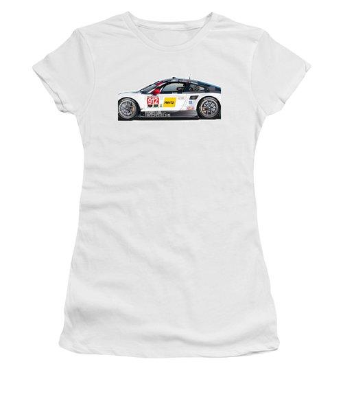 Porsche 911 Gtlm Illustration Women's T-Shirt (Junior Cut) by Alain Jamar