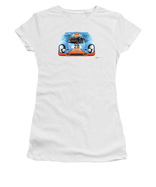 Porsche 917 Gulf On White Women's T-Shirt (Athletic Fit)