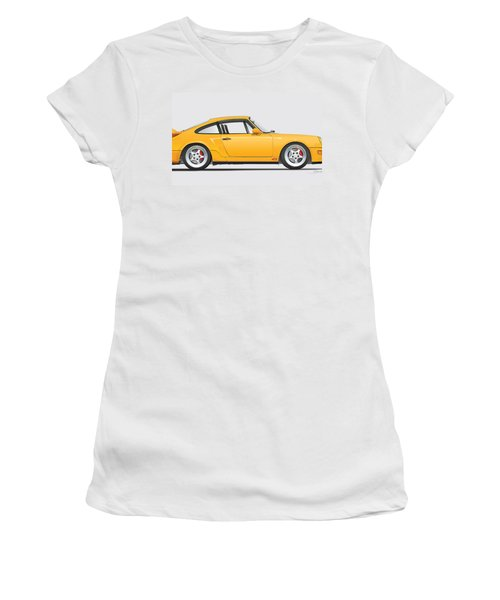 Porsche 964 Carrera Rs Illustration In Yellow. Women's T-Shirt (Junior Cut) by Alain Jamar