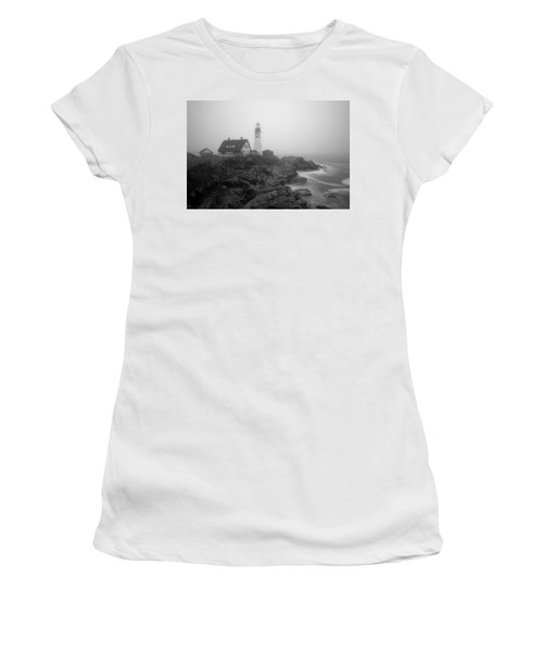 Portland Head Lighthouse In Fog Black And White Women's T-Shirt (Athletic Fit)