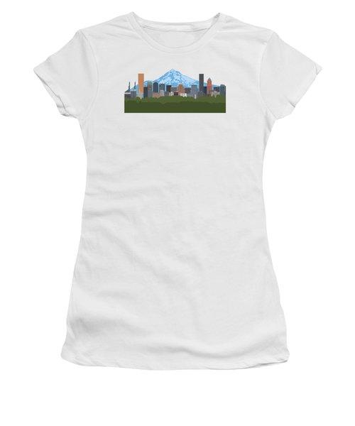 Portland Oregon Skyline Color Illustration Women's T-Shirt