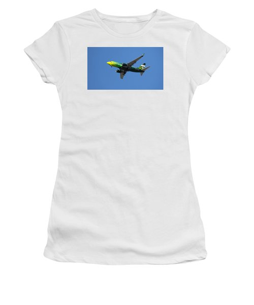 Women's T-Shirt (Athletic Fit) featuring the photograph Portland Timbers - Alaska Airlines N607as by Aaron Berg