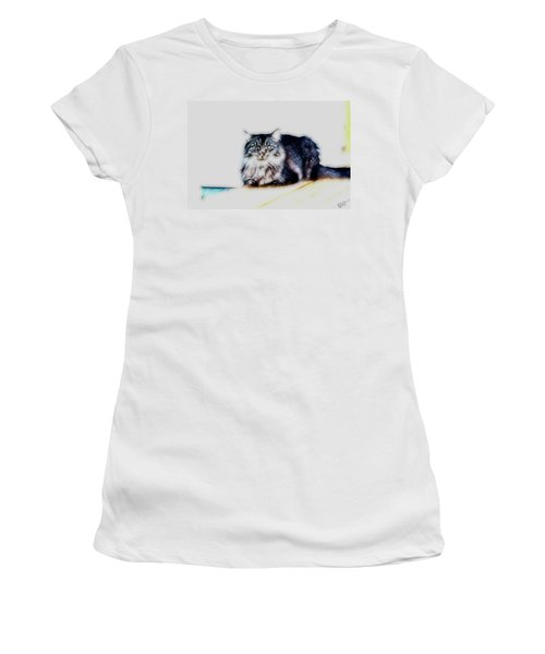 Portrait Of Maine Coon, Mattie Women's T-Shirt (Junior Cut) by Gina O'Brien