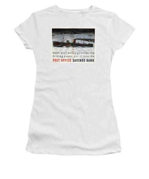 Post Office Savings Bank - Steamliner - Retro Travel Poster - Vintage Poster Women's T-Shirt