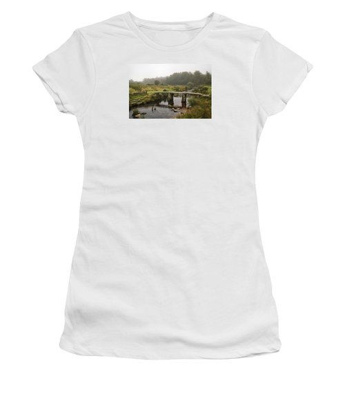 Women's T-Shirt (Junior Cut) featuring the photograph Postbridge Clapper Bridge In Dartmoor  by Shirley Mitchell