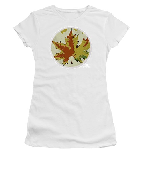 Posterised Autumn Leaf - Round Beach Towel Women's T-Shirt (Athletic Fit)