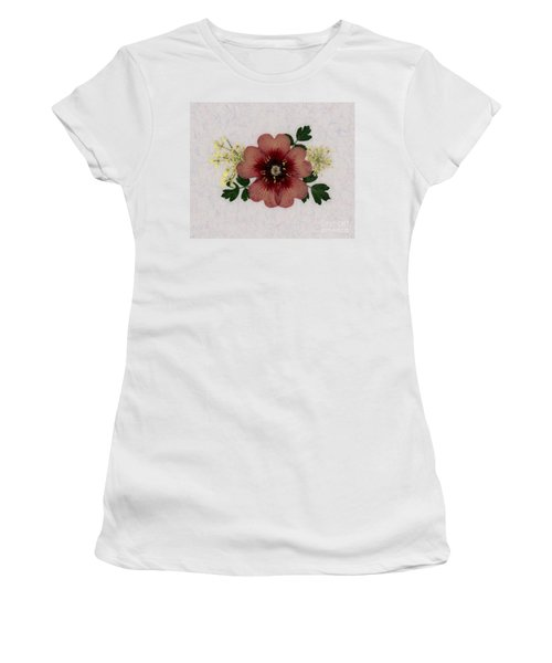 Potentilla And Queen-ann's-lace Pressed Flower Arrangement Women's T-Shirt
