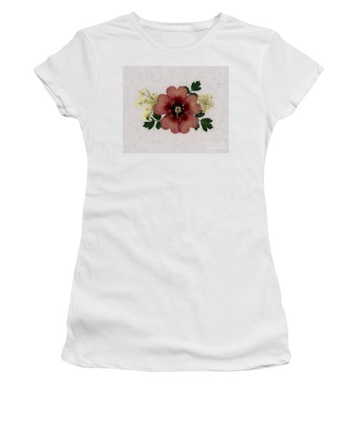 Potentilla And Queen-ann's-lace Pressed Flower Arrangement Women's T-Shirt (Athletic Fit)