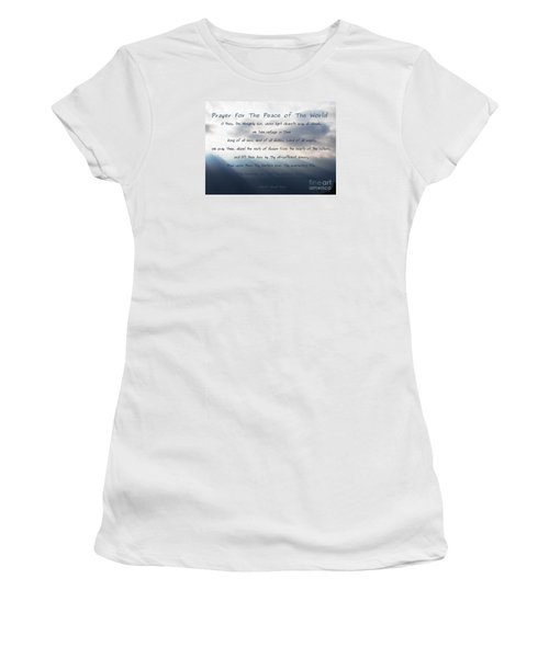Women's T-Shirt (Junior Cut) featuring the photograph Prayer For The Peace Of The World by Agnieszka Ledwon