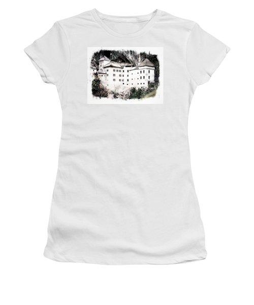 Predjama Castle Women's T-Shirt (Junior Cut) by Joseph Hendrix