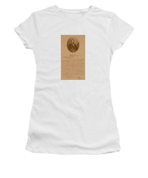 President Lincoln's Letter To Mrs. Bixby Women's T-Shirt
