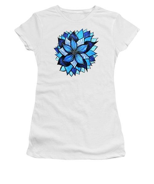 Pretty Abstract Blue Mandala Like Flower Drawing Women's T-Shirt
