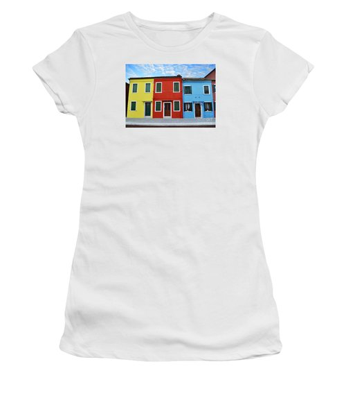 Primary Colors Too Burano Italy Women's T-Shirt (Junior Cut) by Rebecca Margraf