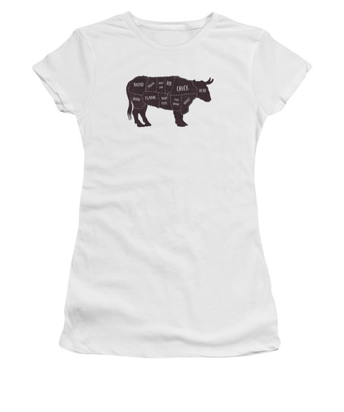 Primitive Butcher Shop Beef Cuts Chart T-shirt Women's T-Shirt (Junior Cut) by Edward Fielding