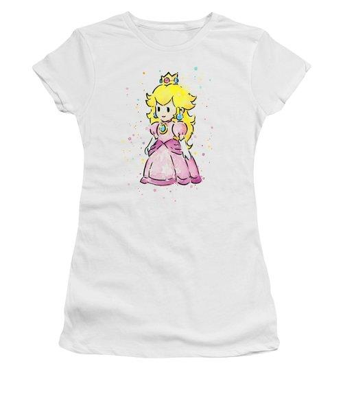 Princess Peach Watercolor Women's T-Shirt (Junior Cut) by Olga Shvartsur